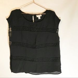 Ava & Viv black top with lace detail size OX